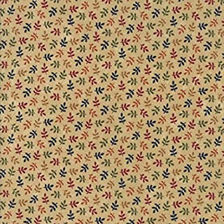 Kansas Troubles, Nature's Glory, Colorful, Small Leaves Allover, Tan Background, Moda, 9586-11, by The Yard