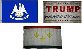 ALBATROS 3 ft x 5 ft Trump White with State Louisiana with City New Orleans Set Flag for Home and Parades, Official Party, All Weather Indoors Outdoors
