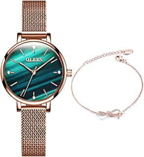 Rose Gold Bangle Watch and Bracelet Set for Womens, Crystal Roman Faced Elegant Accented Wrist Watches Matching Set