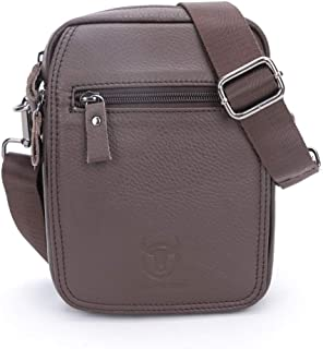 Haibeisi Fashion Unique Men's Shoulder Bag Leather Shoulder Crossbody Bag Business Casual Vertical Student Mini Bag (Color : Brown, Size : M)
