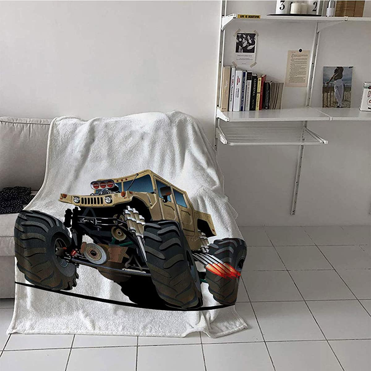 Khaki home Children's Blanket Room/Bedroom Plush Throw Blanket (50 by 70 Inch,Cars,Extremely Large Giant Monster Pickup Truck with Huge with Oversized Tires Race Illustration,Multi