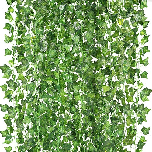 HATOKU 12 Pack Fake Vines Artificial Vines Fake Ivy Leaves Garlands Greenery Hanging Plants for Room Party Wedding Wall Decoration, 84 Feet