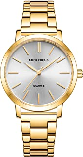 MINI FOCUS Women Classic Quartz Watch Ladies Fashion Wrist Watch with Solid Steel Band 3ATM Waterproof for Daily & Busines...