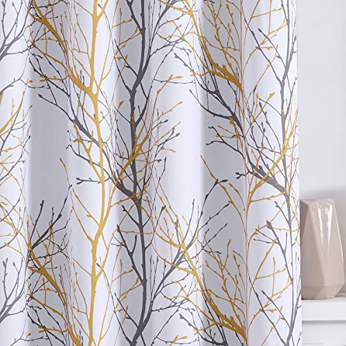 """Fmfunctex Yellow Grey Curtains for Bedroom 96 inches Half-Blackout White Tree Curtain Panels for Living Room 50""""W Branch Print Curtains with Liner 2 Panels Grommet Top"""