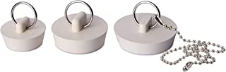 Supply Guru Bathtub Stopper Rubber Sink Stoppers Set, for Tub Shower Drain Bathroom Sink Plug (3-Pack with Chain).
