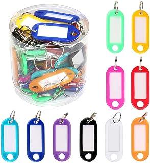 Gobesty Schlüssel Beschriften, 50 Stück Mehrfarbige Kunststoff Schlüsselanhänger ID Label Tag mit Ring und auswechselbare Kofferanhänger