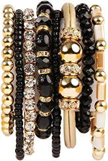 Multi Layer Strand Sparkly Stack Bracelets - Rhinestone Crystal Colorful Beaded Statement Stretch Adjustable Bangle Set