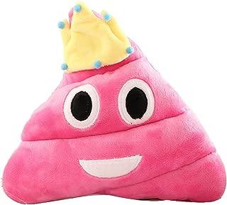 Emoji Emoticon Cushion Heart Eyes Poo Shape Pillow Doll Toy Throw Gift (Pink Crown)