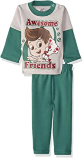 Jockey Printed Long Sleeves Round Neck Sweatshirt with Pants Pajama Set for Boys - Green and Grey, 18-24 Months