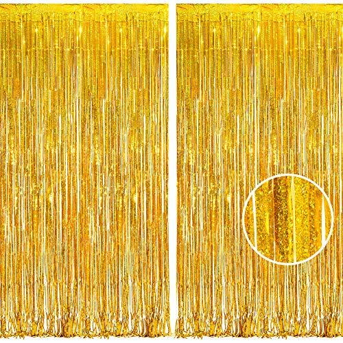 BRAVESHINE Gold Metallische Lametta Vorhänge Hintergrund, Funkeln Vorhängen Dekoration für Geburtstagsfeier Hochzeitsfoto Hintergrund Weihnachten Disco Party (2 Stück,1x2.5m)