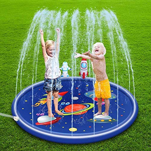 MapleMiss Sprinkler Pad Splash Play Wading Pool, 170cm Inflatable Spray Water Cushion Summer Kids Play Water Mat Lawn Games Pad Sprinkler Play Toys Outdoor Tub Swiming Pool (Color : Blue)