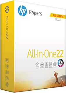 HP Printer Paper, All In One22, 8.5 x 11 Paper, Letter Size, 22lb Paper, 96 Bright, 750 Sheets/ 1 Ream (208850R) Acid Free Paper