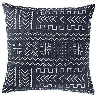 Rivet Mudcloth-Inspired Pillow, 17  x 17 , Navy