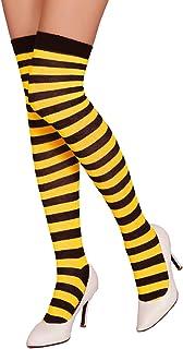 Calcetines a rayas sobre la rodilla unisex Calcetines largos Calcetines a rayas sobre la pierna Medias a rayas de Halloween