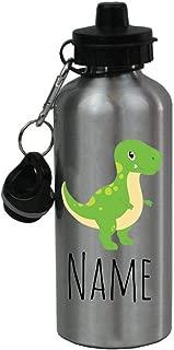 Personalized Custom Green T-Rex, Dinosaur Aluminum 20 Ounce Kids Summer Sport Water Bottle, 2 Lids - Customizable (Silver, Aluminum)