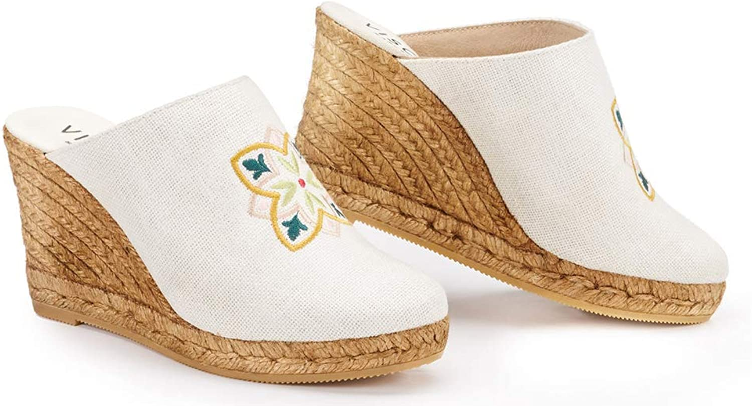 VISCATA Handmade in Spain Estreta Barcino Special Collection 3  Linen Clog, Slip-on, Closed Toe, Espadrilles Heel