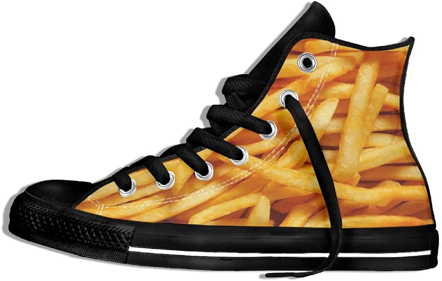 Unisex Hi-Top Canvas Sneakers French Fries Flat Anti-slip Walking Trainers shoes
