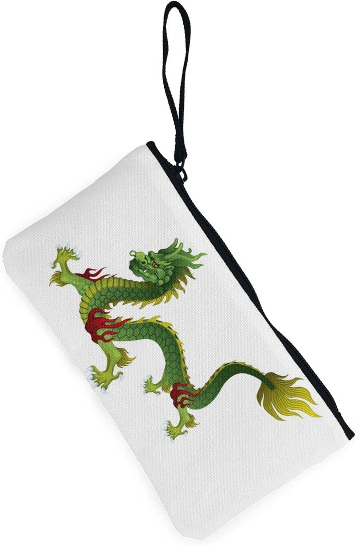 AORRUAM Hand drawn Green Dragon Canvas Coin Purse,Canvas Zipper Pencil Cases,Canvas Change Purse Pouch Mini Wallet Coin Bag