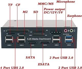 eoocvt 5.25 inch Multi-Function USB 3.0 Hub CF TF M2 SD MS Card Reader CD-ROM Front Panel Media Dashboard SATA eSATA Audio Headphone Mic