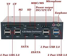 "Agile-shop 5.25"" Multi-function USB 3.0 Hub CF TF M2 SD MS Card Reader CD-ROM Front Panel Media Dashboard SATA eSATA Audio Headphone Mic"