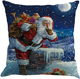 Heroky Christmas Pillow Cases Santa Claus Snowman Printing Dyeing Waist Cushion Cover Sofa Bed Home Decor (G)