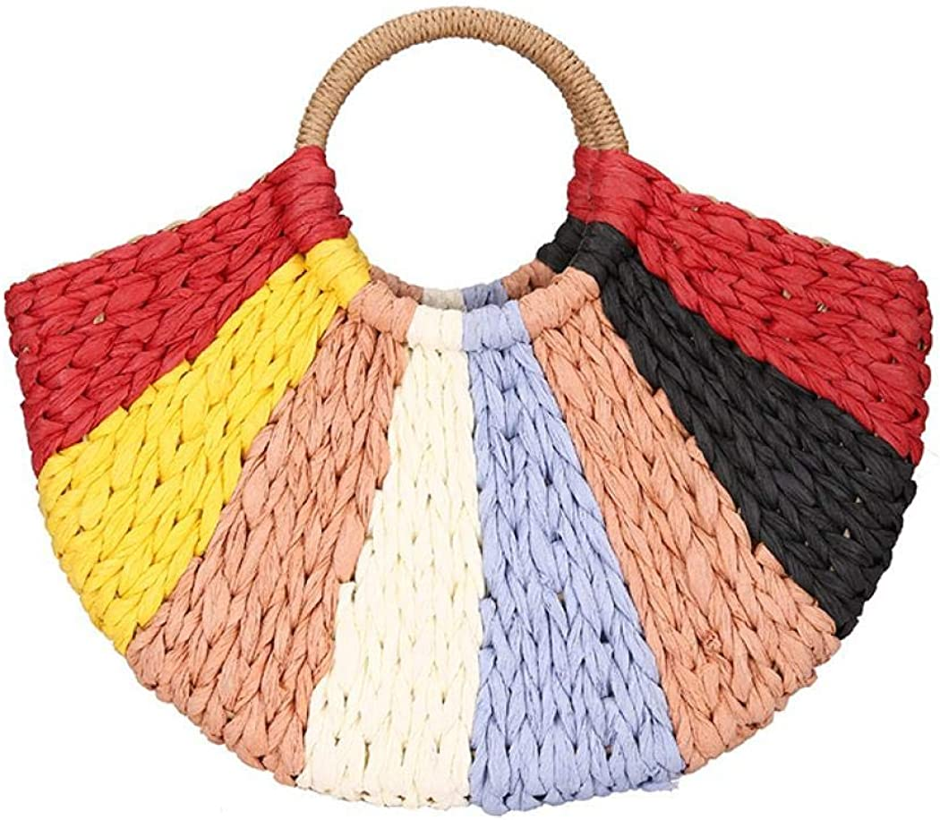 Straw Tote Bag Women Large Casual Stylish Pattern Hand Woven Handbags Beach Hobo Bag for Daily Use Beach Shopping Travel