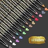 Baozun Metallic Marker Pens, 12 Farben Metallic Stifte für