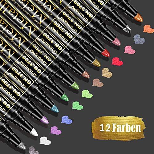 Baozun Metallic Stifte 12 Farben Metallic Maker Stifte für Gästebuch Hochzeit/Geburtstag, Fotoalbum Schwarze Seiten, Scrapbook Album