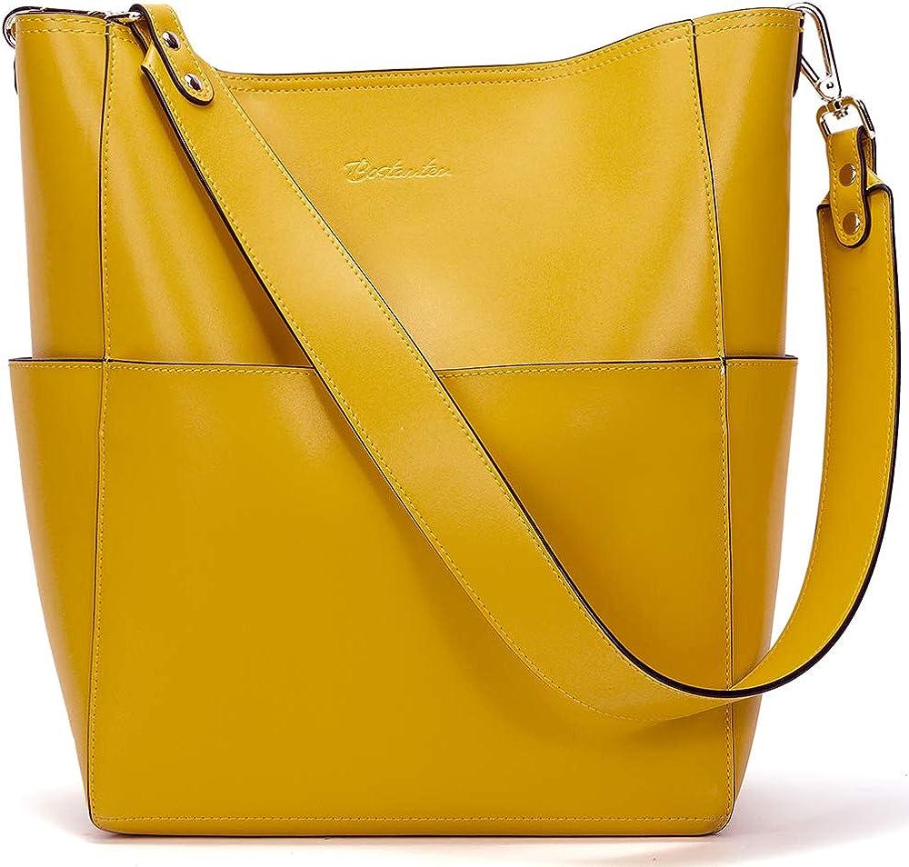 Bostanten borsa da donna a secchiello in vera pelle BL1164391Kyellow