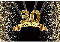 新しい2.1×1.5mポリエステル30お誕生日おめでとうバナーゴールドキラキラ輝くボケ光線背景背景写真スタジオビデオパーティーフォトブース写真小道具