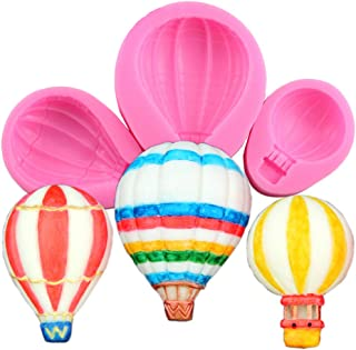 3Pcs/Set Hot Air Balloons Fondant Mold, Hot Air Balloon Silicone Sugar Craft Gum Paste Mould for Cake Decoration Chocolate Candy Polymer Clay Resin Soap Crayon Melt Mold