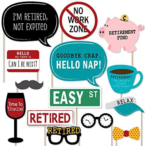 Big Dot of Happiness Retirement - Photo Booth Props Kit - 20 Count