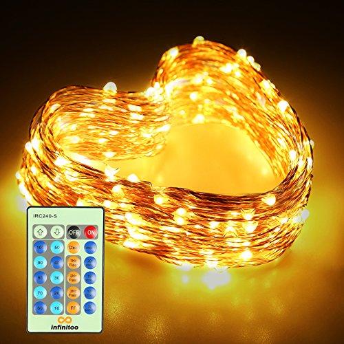 infinitoo LED Lichterkette, 20 Meter 200 LEDS Kupferdraht Warmweiß mit Fernbedienung [Energieklasse A++] [Energieklasse A++]