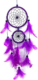 NszzJixo9 Handmade Lace Dream Catcher-Feather Bead Hanging Decoration Ornament Gift, Flowers for Wall Hanging Decoration,Wedding Decoration Craft (Purple)