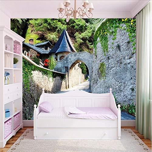 Lvabc Aangepaste foto Wallpaper Europese Stijl Mooie Kasteel Poort Landschap Wallpaper Woonkamer Hotel Aangepaste muurschildering Wallpaper-350X250Cm