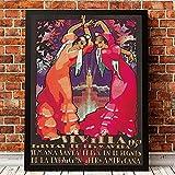 Pintura En Lienzo Sevilla EspañA Vintage Cartel De Viaje E ImpresióN Fiestas De Primavera Cuadro ArtíStico De Pared Para Sala De Estar DecoracióN Del Hogar 60x60cm Sin Marco