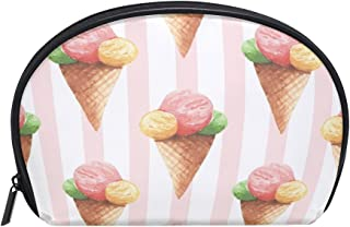 ALAZA Ice Cream Striped Half Moon Cosmetic Makeup Toiletry Bag Pouch Travel Handy Purse Organizer Bag for Women Girls