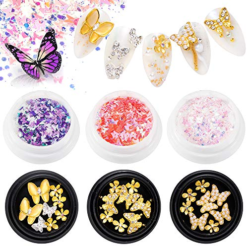 EBANKU 3pcs Butterfly Nail Art Rhinestones + 3pcs Manicure Butterfly Sequins, 3D Alloy Butterfly Bow Zircon Nail Gems DIY Manicure Accessories for Nail Decoration