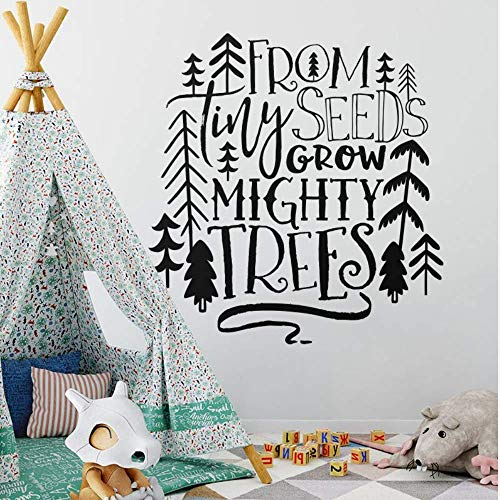 Makeyong kwekerij citaat muursticker van kleine zaden groeien machtige bomen muur Sticker Tribal Kids kamer Decor Woodland boom Vinyl Decal 42X44Cm