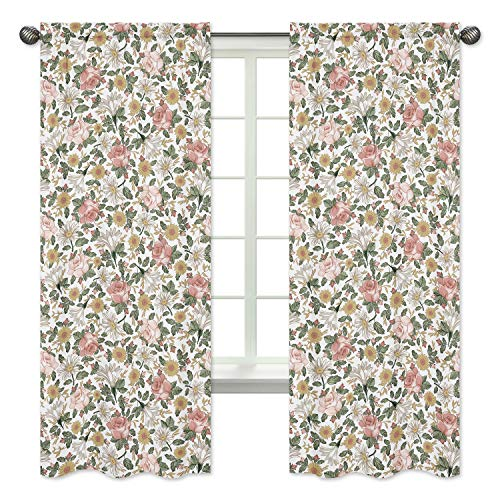Sweet Jojo Designs Vintage Floral Boho Window Treatment Panels Curtains - Set of 2 - Blush Pink, Yellow, Green and White Shabby Chic Rose Flower Farmhouse