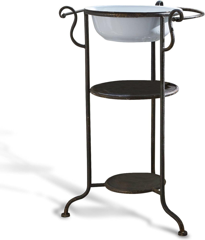 Loberon Waschtischchen Varennes, Eisen, H B T ca. 78,5 47,5 51 cm, schwarz wei