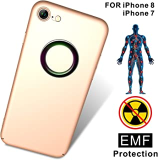 TAGCMC for iPhone 8 case, iPhone 7 case, Anti-Radiation Cell Phone Case, EMF Protection & Negative Ion Energy, Ultra Thin Hard Cover Soft Slim Fit Shell Full Body Protection for iPhone 8, iPhone7 Gold