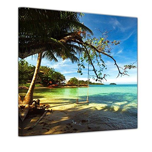 Wandbild - Tropical Beach Under Blue Sky - Thailand - Bild auf Leinwand 40 x 40 cm - Leinwandbilder Bilder als Leinwanddruck Landschaften Asien - Schaukel am Strand