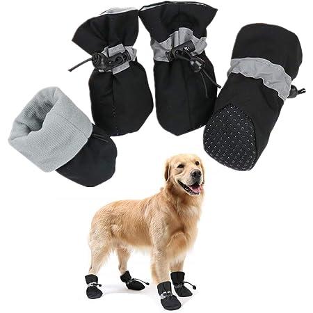 犬用 靴 4個セット ペット シューズ 滑り止め 防水 ブーツ お散歩 お出かけ 室内 肉球保護 足保護 小型犬 中型犬 大型犬 (L, ブラック)