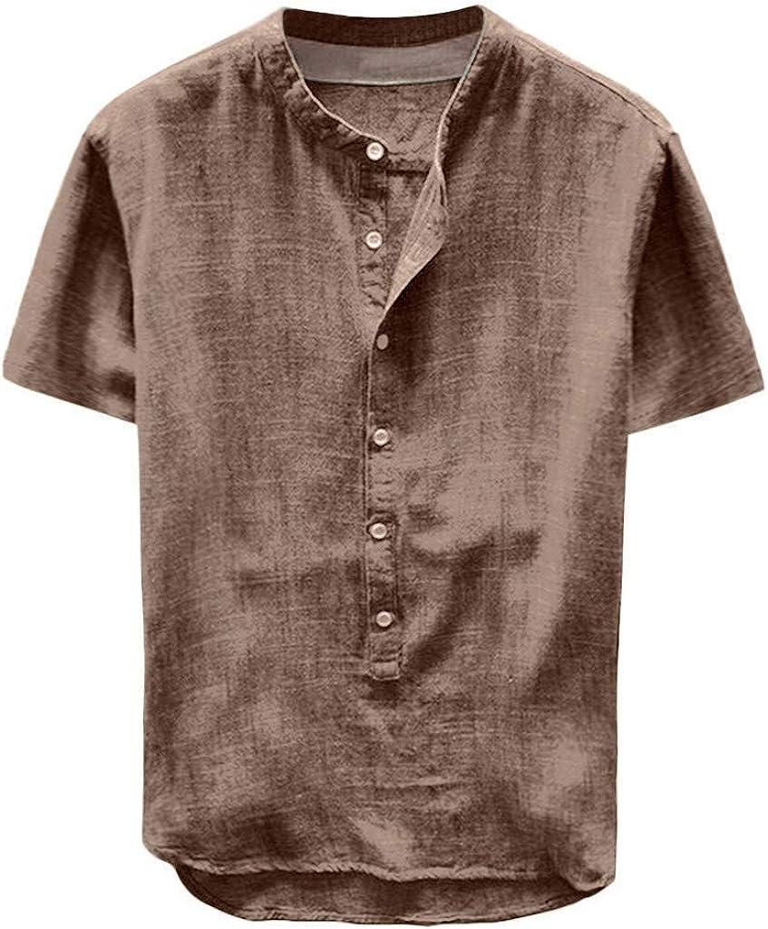 Mens Casual Loose Button Cotton Hemp Shirt Fashion Short Sleeve Stand-Up Collar Henley Shirt Tops