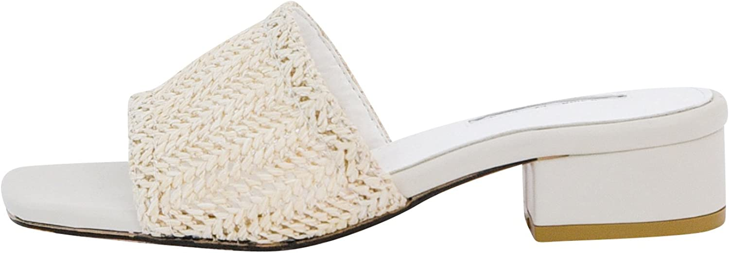 AnnaKastle Womens Natural Woven Slide Mule Heel Sandal