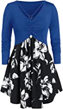 FraftO Womens V-Neck Long Sleeve Splice Dress Floral Print Pleated Top Blouse XL-5XL
