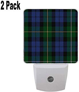 Campbell of Loudoun Clan Family Tartan 2 Pack Plug in Dusk to Dawn Lights Sensor LED Night Lights Wall Lights for Bedroom, Bathroom, Hallway, Stairs, Energy Efficient
