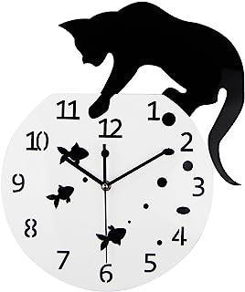 Timelike Fishbowl Cat Clock / Creative Wall Clocks / Home DIY Decoration Watch / Cat on Clock Living Room Mirror 3D Wall D...