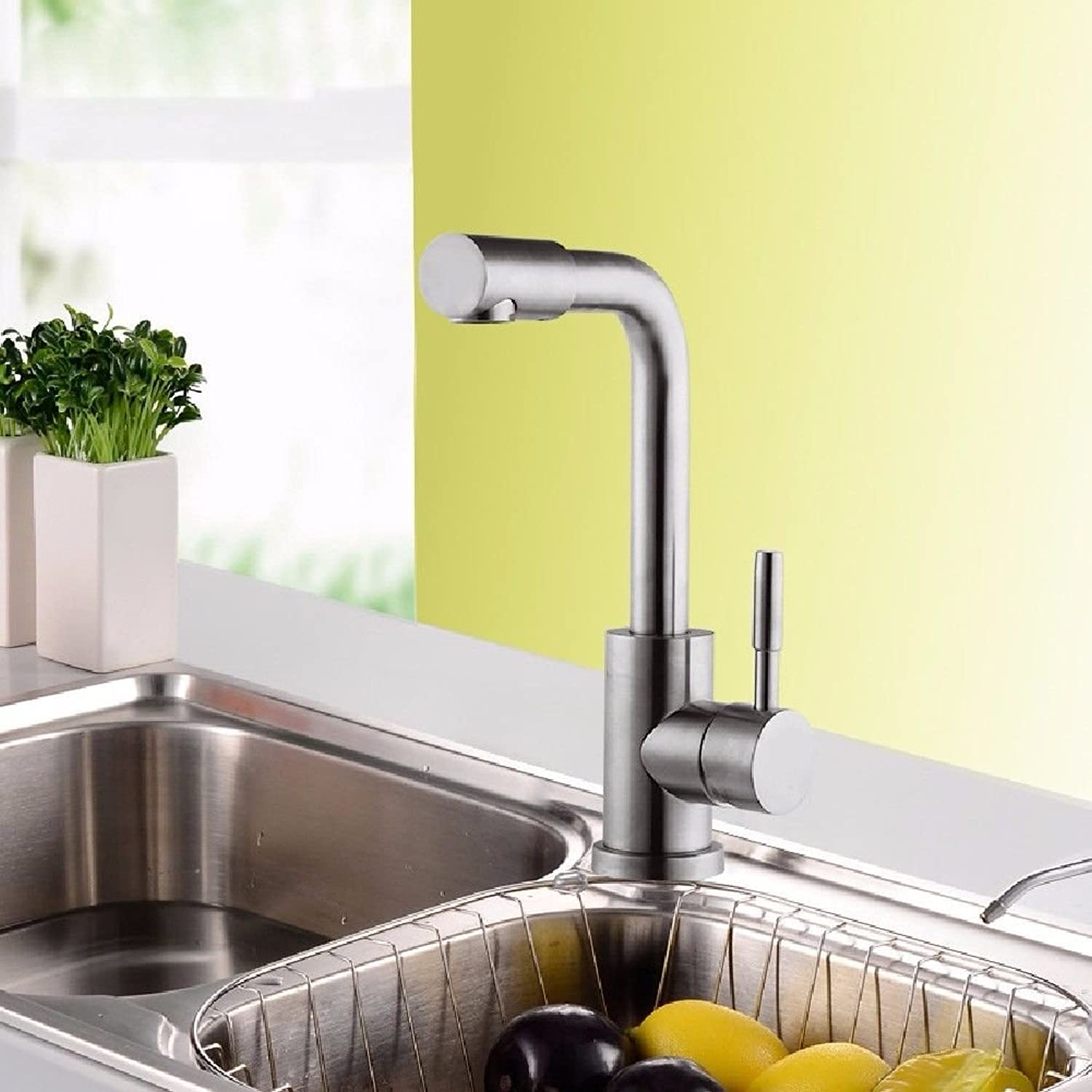 Commercial Single Lever Pull Down Kitchen Sink Faucet Brass Constructed Polished 304 Stainless Steel Faucet Kitchen Faucet